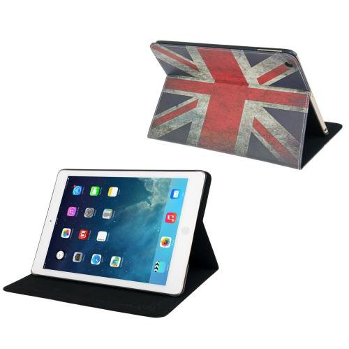 For iPad Air Retro UK Flag Pattern Leather Case with Holder & Sleep / Wake-up Function
