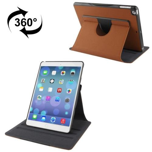 For iPad Air Brown Rotatable Denim Leather Case with 3 Gears Holder & Sleep / Wake-up Function