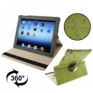 For iPad 4/3/2 Green Embossing Flower Rotatable Sleep / Wake-up Function Leather Case with Holder