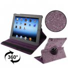 For iPad 4/3/2 Purple Embossing Flower Rotatable Sleep / Wake-up Function Leather Case with Holder