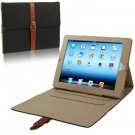 For iPad 4/3/2 Black Leather Case/Bag with 3 Gear Holder & Buckle and Sleep/Wake-up Function
