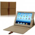 For iPad 4/3/2 Brown Leather Case/Bag with 3 Gear Holder & Buckle and Sleep/Wake-up Function