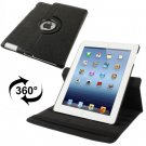 For iPad 4/3/2 Black Rotatable Cute Smart cover Leather Case with 3 Stalls Adjustment case