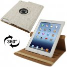 For iPad 4/3/2 White Rotatable Cute Smart cover Leather Case with 3 Stalls Adjustment case