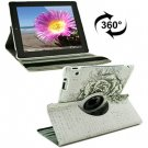For iPad 4/3/2 360 Degree Rotation Rose Pattern Flip Leather Case with Holder