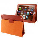 For iPad 4/3/2 Orange Litchi Texture Folding Leather with Sleep / Wake-up & Holder Function