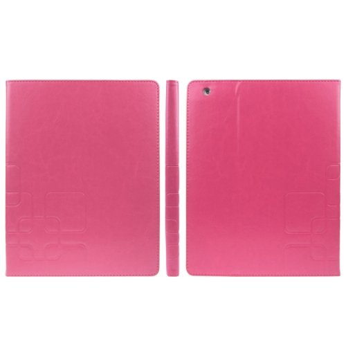 For iPad 4/3/2 Magenta ENKAY Crazy Horse Embossing Smart Cover PU Leather Case & Card slots