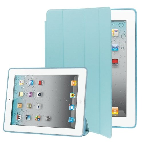For iPad 4/3/2 Blue 4-folding Slim Smart Cover Leather Case with Holder