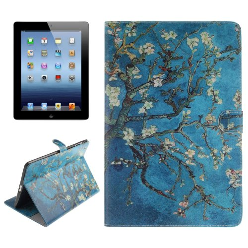 For iPad 4/3/2 Plum Pattern Leather Case with Holder, Card Slots & Wallet