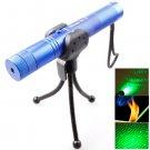 4mw 532nm 303 Green Beam Gypsophila Pattern Adjustable Focus Laser Pointer with Holder - Blue