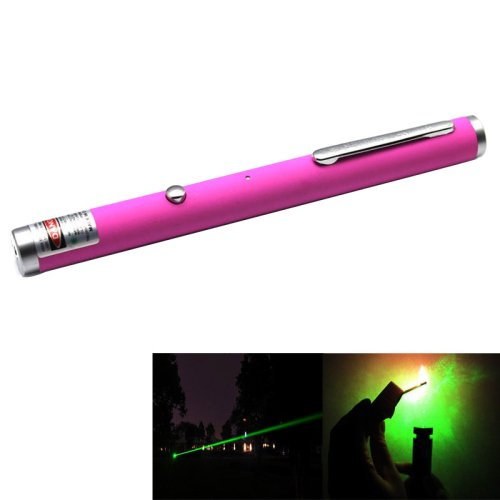 1mw 532nm Green Beam Laser Stage Pen, Built-in Battery - Magenta