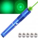 4mw 532nm Green Beam Laser Pointer Kit with 5 x Gypsophila Lens/Battery Charger - Blue