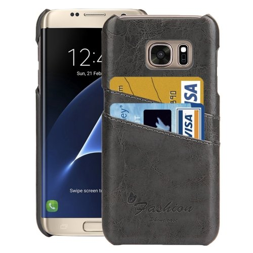For Samsung Galaxy S7 Edge Grey Oil Wax Texture Leather Back Cover Case with Card Slots