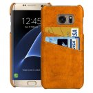 For Samsung Galaxy S7 Edge Yellow Oil Wax Texture Leather Back Cover Case with Card Slots