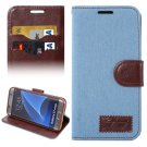 For Galaxy S7 Edge Blue Jeans Horizontal Flip Leather Case with Holder & Card Slots