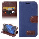 For Galaxy S7 Edge Dark Blue Jeans Horizontal Flip Leather Case with Holder & Card Slots