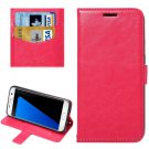 For Galaxy S7 Edge Magenta Fine Sheepskin Flip Leather Case with Holder & Card Slots