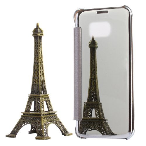 For Galaxy S7 Edge Silver Electroplating Mirror Horizontal Flip PC + PU Leather Case