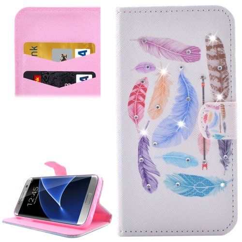 For Galaxy S7 Edge Diamond Encrusted Feathers Leather Case with Holder, wallet & Card Slot
