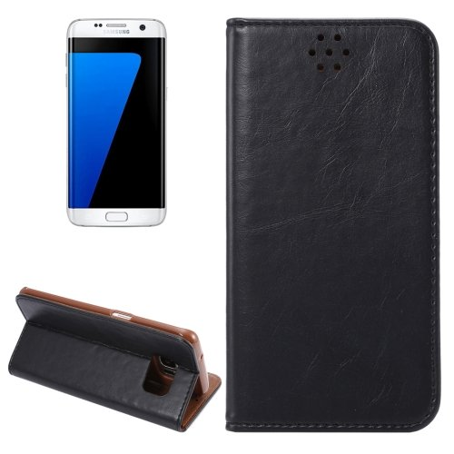 For Galaxy S7 Edge Black Crazy Horse Magnetic Leather Case with Holder & Card Slot