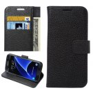 For Galaxy S7 Edge Black Litchi Flip Leather Case with Holder, Card Slots & Wallet