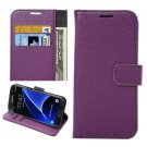 For Galaxy S7 Edge Purple Litchi Flip Leather Case with Holder, Card Slots & Wallet