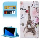For Galaxy S7 Edge Eiffel Tower Flip Leather Case with Holder, Card Slots & Wallet