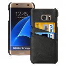 For Galaxy S7 Edge Black Fashion Genuine Litchi Leather Back Cover Case with Card Slots