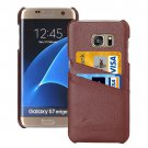 For Galaxy S7 Edge Brown Fashion Genuine Litchi Leather Back Cover Case with Card Slots