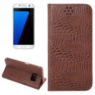 For Galaxy S7 Edge Coffee Crocodile Magnetic Flip Leather Case with Holder & Card Slots