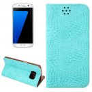 For Galaxy S7 Edge Blue Crocodile Magnetic Flip Leather Case with Holder & Card Slots
