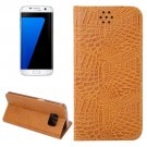 For Galaxy S7 Edge Brown Crocodile Magnetic Flip Leather Case with Holder & Card Slots