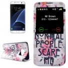 For Galaxy S7 Edge Flowers Pattern Flip Leather Case with Call Display ID & Holder