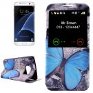 For Galaxy S7 Edge Butterfly Pattern Flip Leather Case with Call Display ID & Holder
