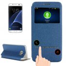 For Galaxy S7 Edge Blue Horizontal Flip Leather Case with Holder & Call Display ID