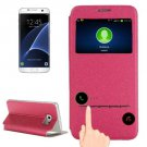 For Galaxy S7 Edge Magenta Horizontal Flip Leather Case with Holder & Call Display ID