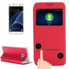 For Galaxy S7 Edge Red Horizontal Flip Leather Case with Holder & Call Display ID