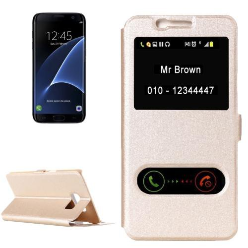 For Galaxy S7 Edge Gold Silk Flip Solid Color Leather Case with Call Display ID