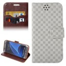 For Galaxy S7 Edge Grey Grid Voltage Texture Flip Leather Case with Holder & Card Slots