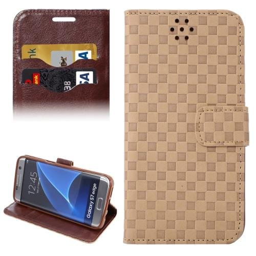 For Galaxy S7 Edge Brown Grid Voltage Texture Flip Leather Case with Holder & Card Slots
