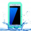 For Galaxy S7 Edge Green IPX8 Plastic + Silicone Transparent Waterproof Protective Case with Lanyard