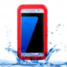 For Galaxy S7 Edge Red IPX8 Plastic + Silicone Transparent Waterproof Protective Case with Lanyard