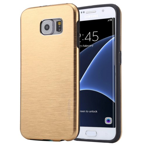For Galaxy S7 Edge Gold Motomo Brushed Texture Metal + TPU Protective Case