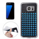 For Galaxy S7 Edge Blue Knit Pattern PU Leather + TPU Protective Case