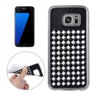 For Galaxy S7 Edge White Knit Pattern PU Leather + TPU Protective Case