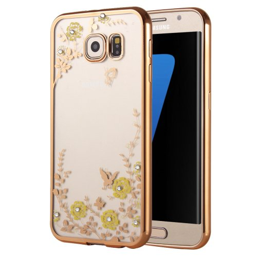 For Galaxy S7 Edge Flowers Patterns Electroplating Soft TPU Protective Cover Case