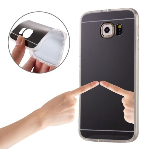 For Galaxy S7 Edge Black Plating Mirror TPU Protective Case