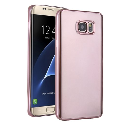 For Galaxy S7 Edge Rose Gold Plating Soft TPU Protective Cover Case