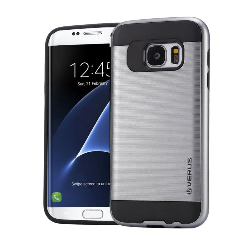 For Galaxy S7 Edge Grey Verus Brushed Texture PC + TPU Protective Case