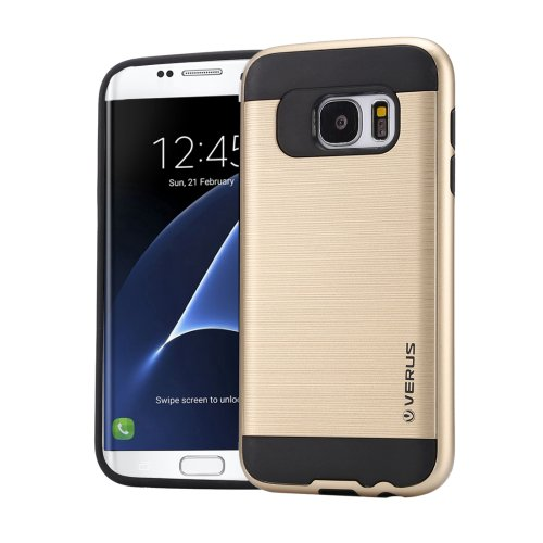 For Galaxy S7 Edge Gold Verus Brushed Texture PC + TPU Protective Case